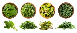 Leafy vegetables isolated on white. Spinach leaves, parsley, swiss chard (mangold or beet leafs), arugula. Vegetables with copy space for text. Top view. Studio photo. Fresh leafy vegetables isolate.