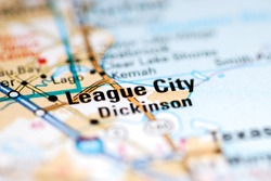 League City. Texas. USA on a geography map