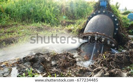 Leaking water for main broken pipeline #677234485
