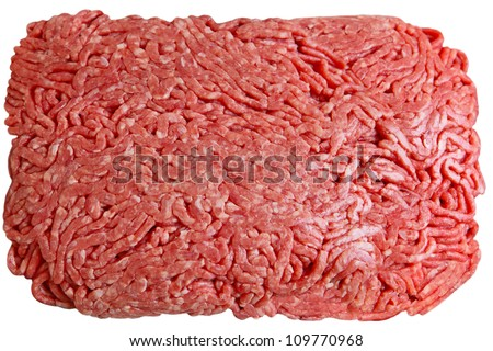 Lean ground beef isolated on white background
