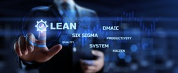 Lean manufacturing DMAIC, Six sigma system. Business and industrial process optimisation concept on virtual interface.