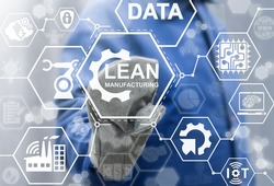 Lean manufacturing industry 4.0 integration iot industrial business web computing concept. Modern factory manufacturing autonomous unmanned management process development engineering technology