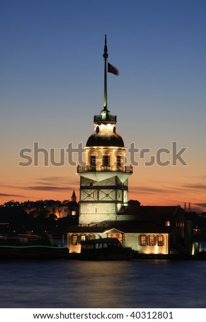 Leander's Tower in istanbul. - stock photo