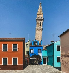 Leaning bell tower of Burano island, Venice, Italy