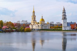 Leaning Tower  and Transfiguration Cathedral in Nevyansk, Russia