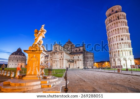 Leaning Tower of Pisa at night, Italy Zdjęcia stock ©