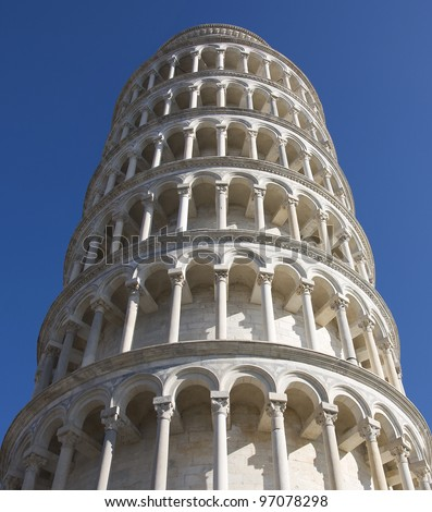 Leaning Tower of Pisa. Close up.