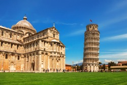 Leaning Tower of Pisa in Tuscany and the Cathedral of the assumption of the blessed virgin Mary