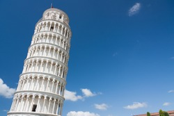Leaning Tower of Pisa in Tuscany, one of the most recognized and famous buildings in the world. Free space for text.