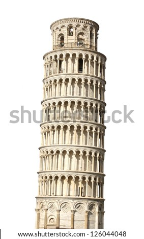 Leaning Tower of Pisa. Isolated over white