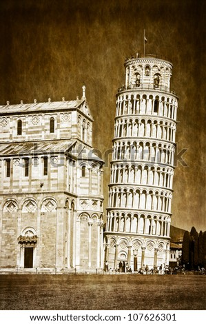 Leaning tower of Pisa vintage retro - stock photo