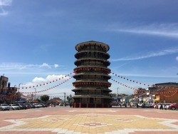 Leaning tower of Teluk Intan decorated with red lanterns during the Chinese New Year festival