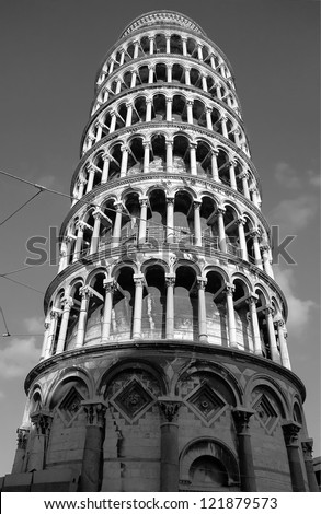 Leaning tower - Pisa, Tuscany, Italy (black and white) #121879573