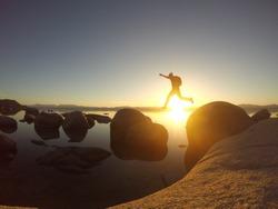 Leap of Faith on Lake Tahoe, California.