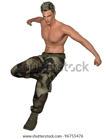 Leaping soldier wearing green camouflage pants and webbing belt, 3d digitally rendered illustration