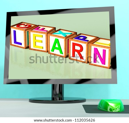 Learn Blocks On Computer Screen Shows Online Kids Education