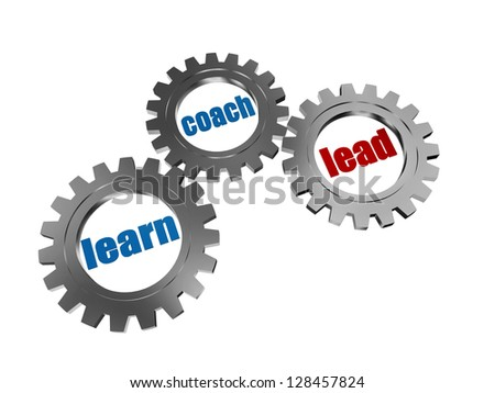 learn, coach and lead - words in 3d silver grey gearwheels, business concept