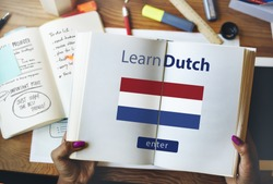 Learn Dutch Language Online Education Concept