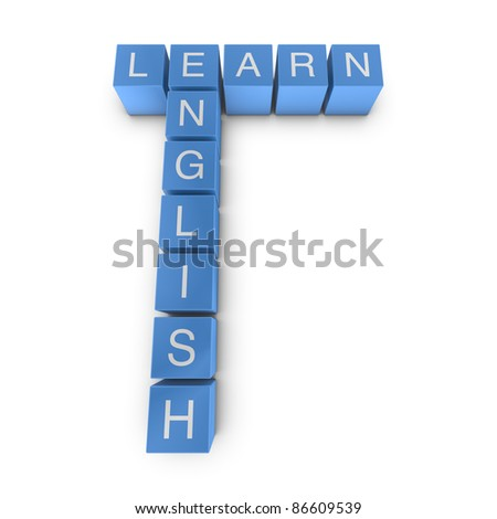 Learn english crossword on white background, 3D rendered illustration