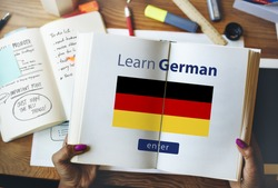 Learn German Language Online Education Concept