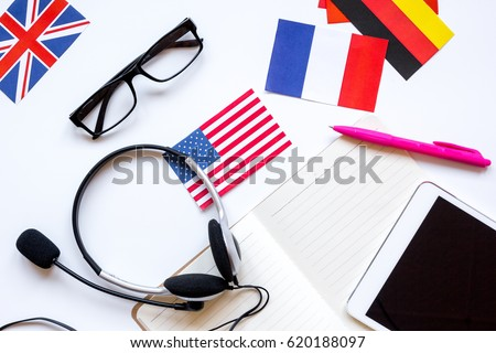 learn language online lifestyle on white table background top view