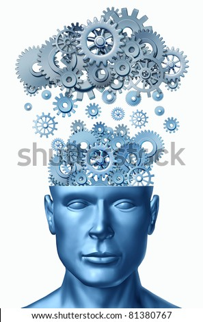 Learn & Lead symbol isolated on white represented by a human head with gears and cogs raining down from a symbolic server representing cloud computing.