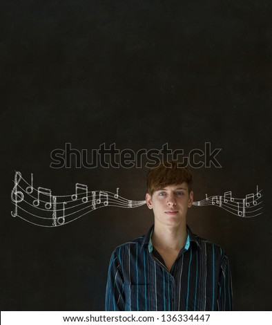 Learn music business man, student or teacher chalk blackboard background