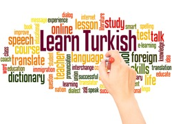 Learn Turkish word cloud hand writing concept on white background.