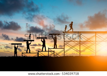 learning and teaching, teacher, team responsible for the idea of progress concept.Silhouette. Adults helped build the foundation for a child to grow up and grow efficiently over blurred natural.