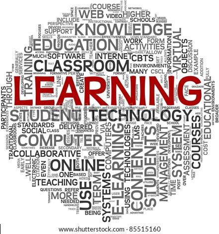 Learning concept in tag cloud on white background - stock photo