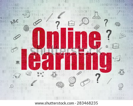 Learning concept: Painted red text Online Learning on Digital Paper background with  Hand Drawn Education Icons, 3d render