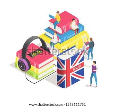 Learning foreign languages isometric concept. People and english french dictionary, textbooks study. Studying spanish german in language school online. Education textbook  background
