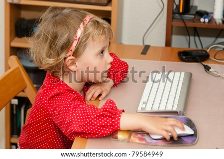 Learning how to use computer mouse and keyboard.