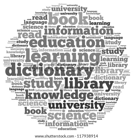 Learning info-text graphics and arrangement concept on white background (word cloud)
