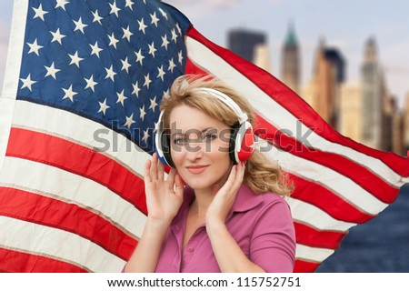 Learning language � American English (blond woman with headphones, city background)