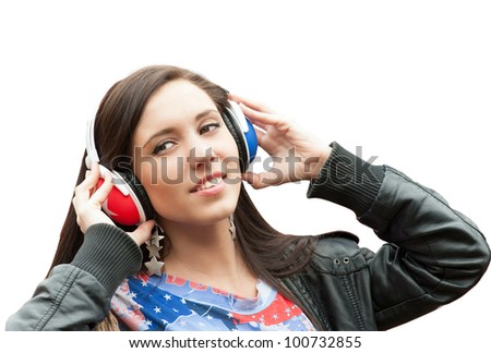 Learning language - English (girl with headphones, isolated)