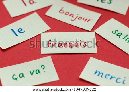 Learning languages - flash memo cards with French words on red background