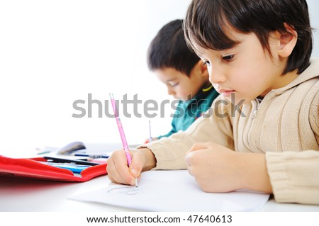 Learning process, cute children writing