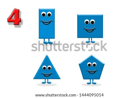 Learning to count. Illustration of shapes with a happy cartoon face, great for kids learning basic geometry and math #1444095014
