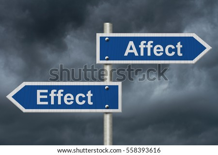 Learning to use proper grammar, Blue road sign with words Affect Effect with stormy sky background 3D Illustration