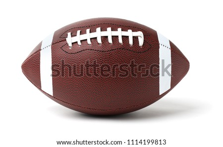Leather American football ball on white background #1114199813
