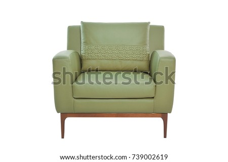 Leather and wood armchair Modern designer chair on white background Texture chair #739002619