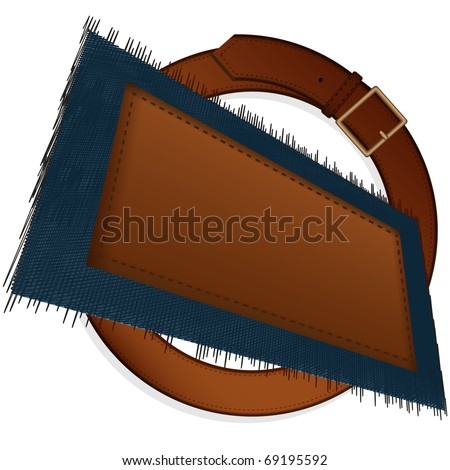 Leather belt with a metal plate and a piece of a jeans fabric with the sewn label on a pure background