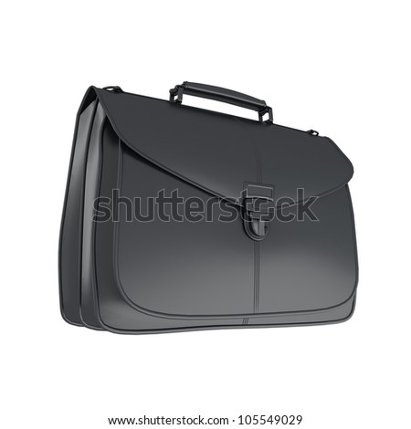 Leather black briefcase isolated on white background