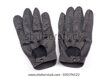 leather black race gloves - stock photo