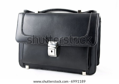 Leather black small suitcase with a fastener on a white background