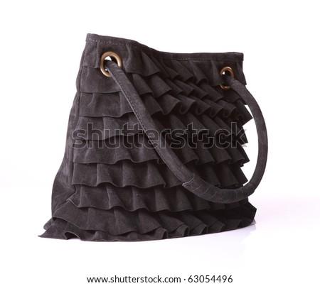 leather black suede bag