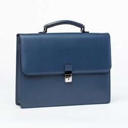leather blue briefcase on a white background