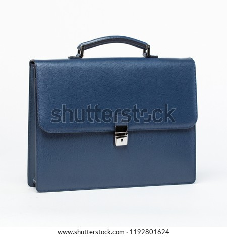 leather blue briefcase on a white background Foto d'archivio ©