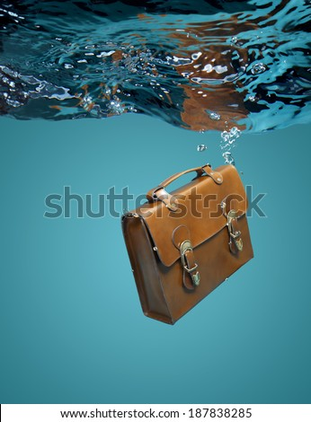Leather Briefcase Sinking Underwater